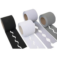 Corrugated Paper Border Rolls, Scalloped Cut Plains Assorted, Monochrome, Pack of 4 Rolls