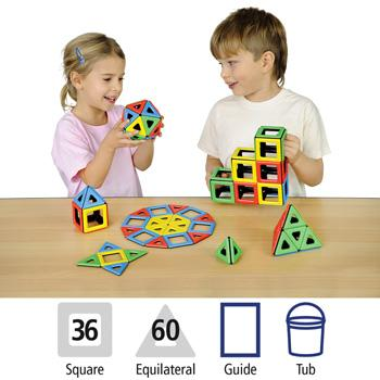 Magnetic Polydron, Magnetic Class Pack In A Tub, Class Pack of 96 Pieces
