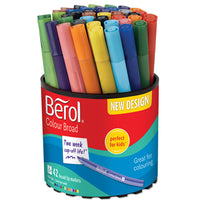 Pens, Washable Fibre Tip, Berol(R) Colour Broad, Assorted, Tub of 42