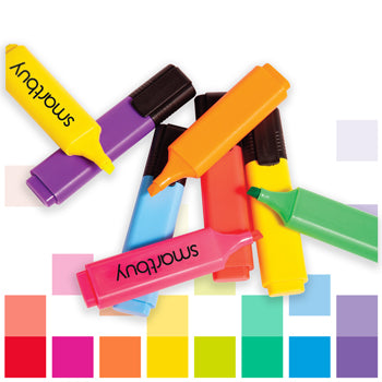 Highlighters, Smartbuy, Marker Style, 6 Assorted Colours, Assorted, Pack of 6