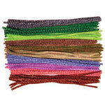 Pipe Cleaners, 6mm Wide Chenille, Stripy, Pack of 100