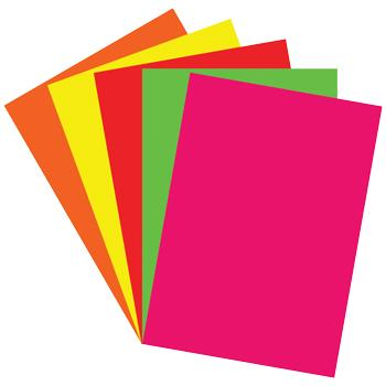 Assorted Fluorescent Card, 350 Micron, 510 x 317mm, Pack of 5 x 20 Sheets
