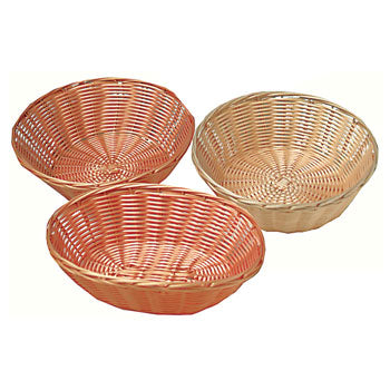 Woven Polyrattan Baskets, Round, 250mm diameter x 70mm deep, Each