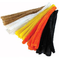 Pipe Cleaners, 15mm Wide Chenille, Hair Colours, Pack of 50