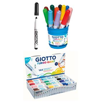 Jumbo Fibre Tipped Pen, Giotto Turbo Giant, Chisel Tip, Assorted, Tub of 12