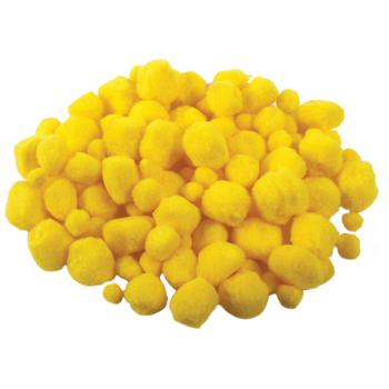 Pom Poms, Yellow, Pack of 100