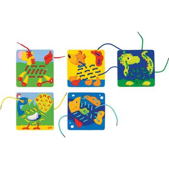 Animal Threading Game, Set of 5