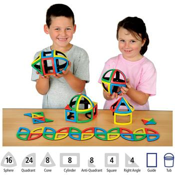 Magnetic Polydron, Class Pack, Pack of 72 Pieces