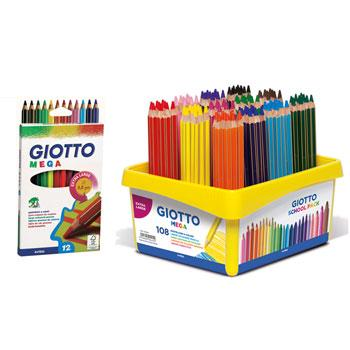 Chunky Hexagonal Coloured Pencils, Giotto Mega, Assorted Colours