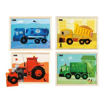 Colour Vehicles Puzzles, Age 2+, Set of 4