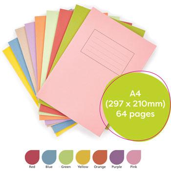 Exercise Books, Manilla Covers, A4 (297 x 210mm), 64 Pages