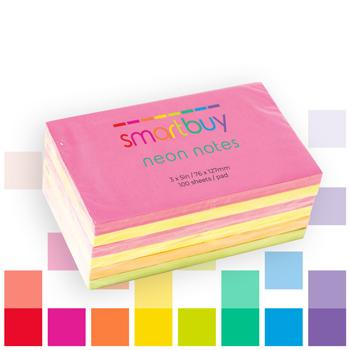 Repositionable Notes, Smartbuy, Neon Assorted, 76 x 127mm, Pack of 6 Pads