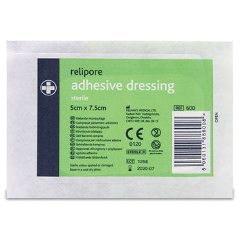 First Aid Wound Dressing, Sterile Adhesive, 50 x 75mm, Pack of 10