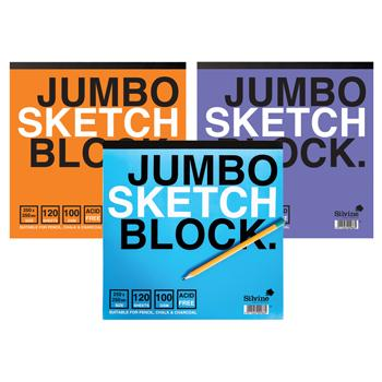 Sketch Books Dry Media, Jumbo Sketch Block, 100gsm, 250 x 250mm, Each