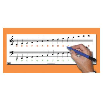 Music Note Chart, Music Ruled, Pack of 10