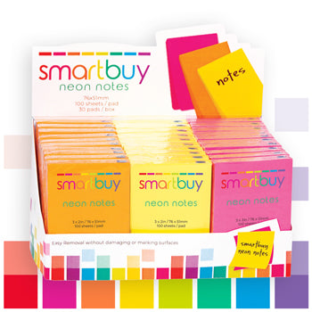Repositionable Notes, Smartbuy, Neon Assorted, 76 x 51mm, Box of 30 Pads