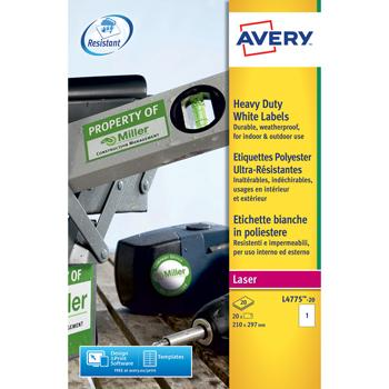 Avery(R) Resistant Labels, 1 Per Sheet, Pack of 20 (L4775)