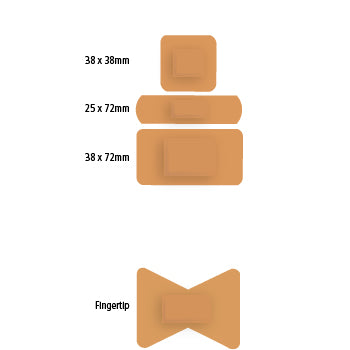 Plasters, Sterile, Individually Wrapped, Hypo-Allergenic, High Quality Stretch Fabric, Flesh Coloured, Fingertip, Box of 50