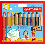 Water-Soluble Coloured Pencils, Stabilo(R) Woody 3-In-1, Pack of 10