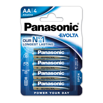 Batteries, Panasonic Evolta, (AA) LR6 1.5 volts, Pack of 4
