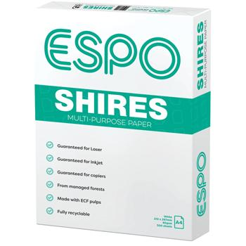 ESPO, Copier Paper, Shires Multi-Purpose White, A4, 80gsm, Box of 5 Reams
