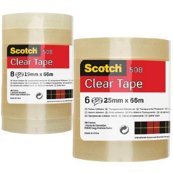 3M(R) Scotch(R) Clear Tape, Large Core Rolls, 25mm x 66m, Pack of 6