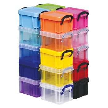 Really Useful Boxes, 0.14 Litre Assorted Colour Set, 90 x 65 x 55mm, Set of 20