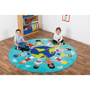 Kit For Kids, Children of The World(TM) Multi-Cultural Carpet, Teal, 2000mm Diameter, Each