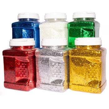 Glitter, Large Tubs, Assorted Colours, Pack of 6 Tubs x 1kg