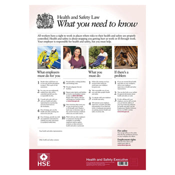 HSE Poster, Health and Safety Law, 297 x 420mm, Each