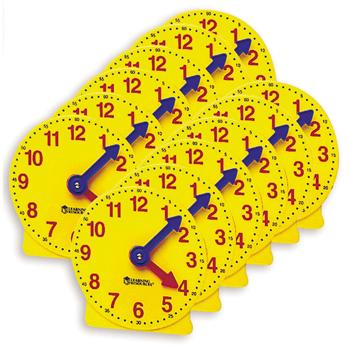 Classroom Clock Kits, Big Time Learning Student Clocks, Age 5-9, Set of 6