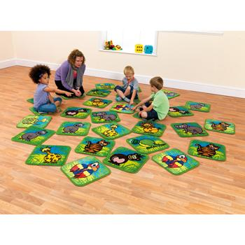 Kit For Kids, Town & Country(TM) Zoo Animals, Mini Placement Carpets, 400 x 400mm, Set of 30