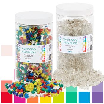 Smartbuy, Push Pins, Clear, Tub of 1000