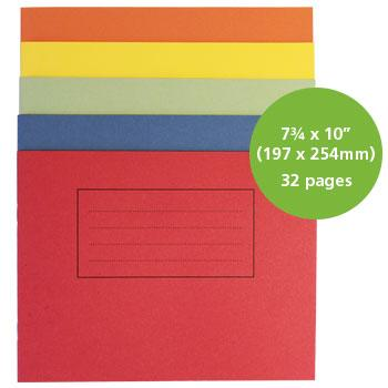 Exercise Books, Manilla Covers, 7 3/4 x 10'' (197 x 254mm) - Discovery Book, Assorted Colours, Plain, Pack of 50