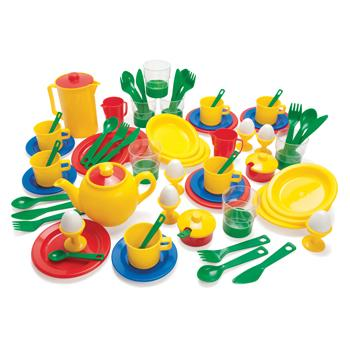 Plastic Breakfast/Dinner Set, Age 3+, Set of 72 Pieces