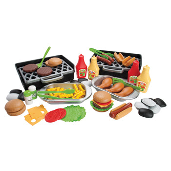 Play Food, Plastic, Deluxe Bbq Play Food & Grill, Set of 79 Pieces