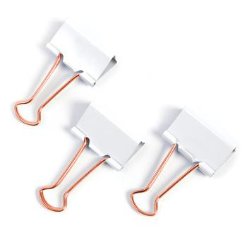 Clips, Foldback Type, White/Rose Gold, 19mm, Box of 80