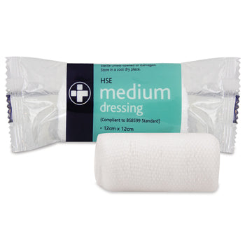 Dressings, Wound, Sterile Dressing with Bandage, Medium, 120 x 120mm, Each