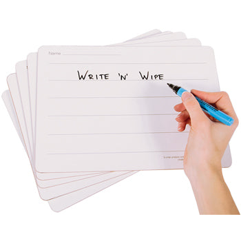 Write 'N' Wipe Boards, 6 Lines - Rigid, A4, Pack of 5