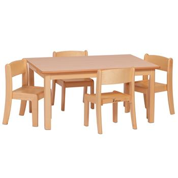 Wooden Tables & Chairs, Millhouse Rectangular Table and 4 Beech Stacking Chairs