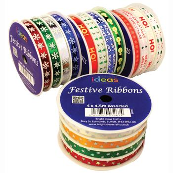 Festive Ribbons, Pack of 4 Spools