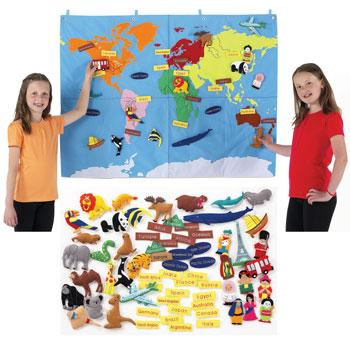 Fabric World Maps, Small, 900 x 1200mm, Each