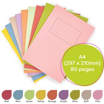 Exercise Books, Manilla Covers, A4 (297 x 210mm), 80 Pages
