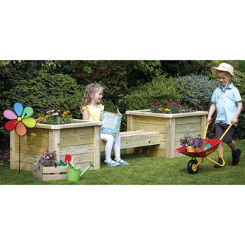 Wooden Garden Range, Planter & Bench Combo, Each