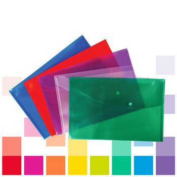 Smartbuy, Polypropylene Foolscap Wallets, Bright Colours, Assorted, Pack of 5