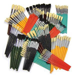 Hog's Hair Brushes, Round And Flat Brushes, Short Handle, Assorted Sizes, Pack of 150