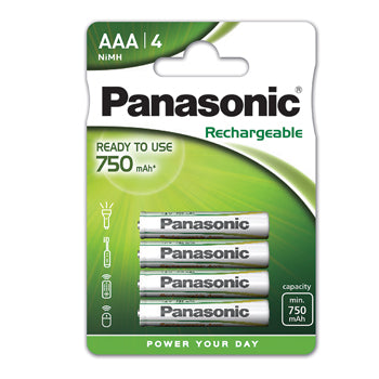 Batteries, Panasonic Evolta Rechargable, Size AAA, Pack of 4