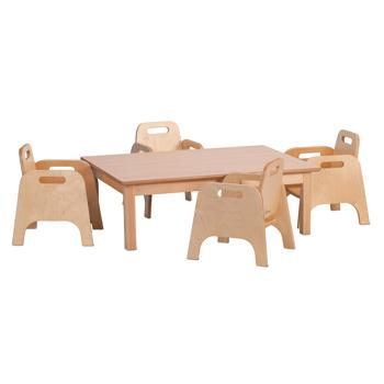 Wooden Tables & Chairs, Millhouse Small Rectangular Table & 4 Sturdy Chairs