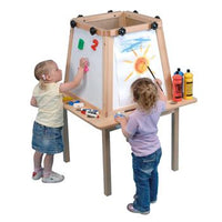 Solid Beech Framed Easels, Magnetic Dry Wipe, 4 Sided - 4 Boards, Each