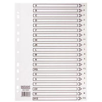 Multi-Punched Tabbed Dividers For Binders and Files, Card, A-Z Indexed, White, A4, 10 x Set of 20